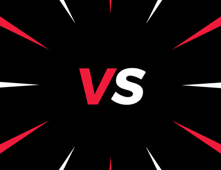 VS versus background in red, white and black for confrontation and opposition concepts. Vector illustration Illustration