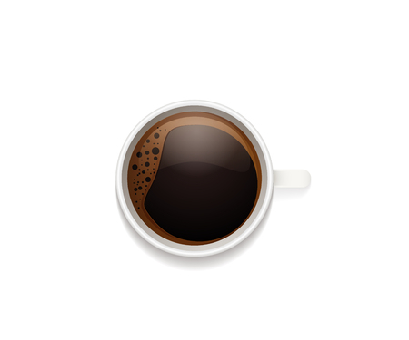 Top view of cup of coffee with foam. Realistic vector illustration isolated