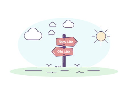 Road signpost pointing towards a new personal beginning. Old life and new life directions with clouds in one side and the sun in the other. Vector concept illustration Ilustração
