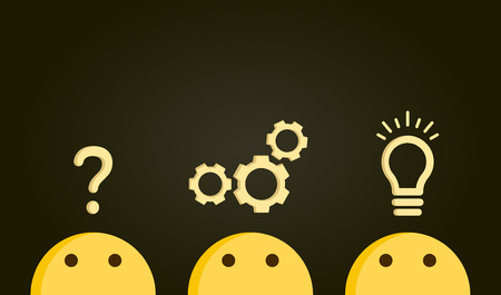 Problem solving concept. Path from question to answer, problem to solution. Vector illustration with icons and emoticon characters Illustration