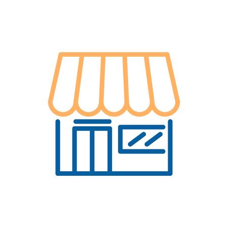 Marketplace shop, ecommerce, supermarkets. Vector trendy thin line icon illustration design