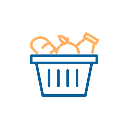 Grocery basket with bread, apple and milk. Vector trendy thin line icon illustration design for food groceries market shopping.