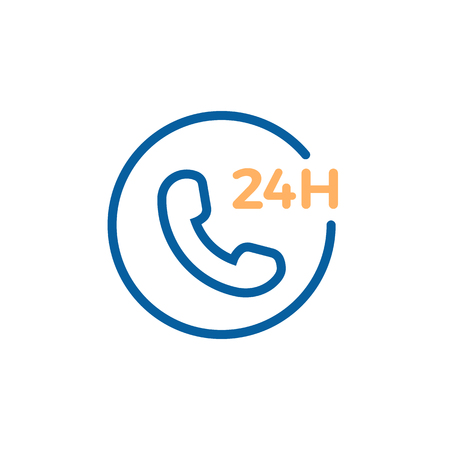 24 hours phone call service. Vector trendy thin line icon illustration design