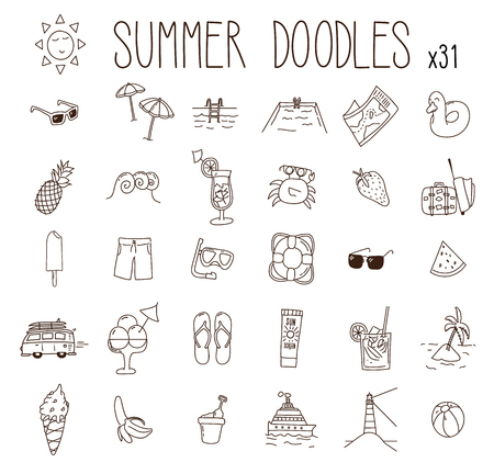 Set of 31 summer drawings. Vector doodle hand drawn icons. Beach, vacations, seasonal food and drinks and other summer illustrations 向量圖像