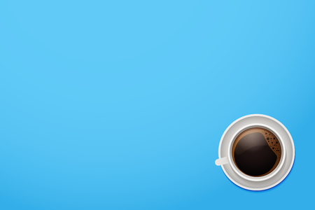 Top view of a coffee mug. Vector cup of coffee on a vivid blue desktop background with copyspace.  イラスト・ベクター素材