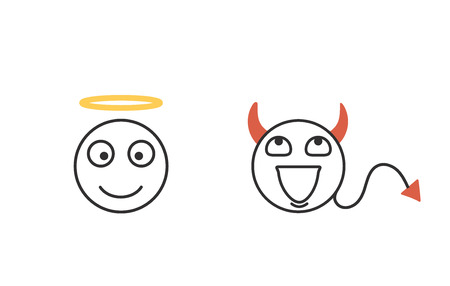 Iconos de emoticonos de concepto del bien y del mal. Cabezas de personajes que representan la ética y la conciencia. Bueno y malo. Vector conjunto de iconos aislados