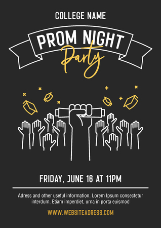 Prom Night party invitation card with hands raised throwing academic hats up and showing diplomas. Vector template design with thin line icons for highschool, college or university student event