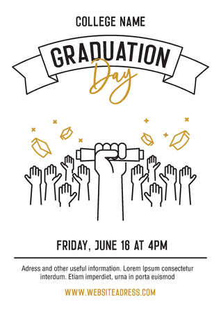 Graduation ceremony party invitation card with hands raised throwing academic hats up and showing diplomas. Vector template design with thin line icons for highschool, college or university student event