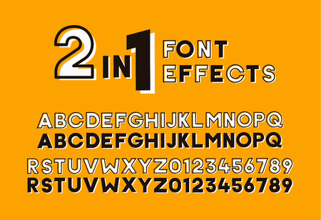 2 in 1 font effects. Set of two sans serif alphabet graphic styles. Outline and bold shadow. Vector design screen printing poster vintage retro style. Great for headlines, titles, display. Vettoriali