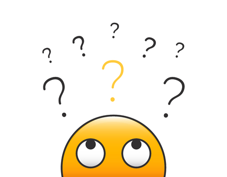 Emoticon character person head looking up at a stack of question marks. Vector illustration design with transparent background for curiosity, doubt, uncertainty and problem solving concepts.