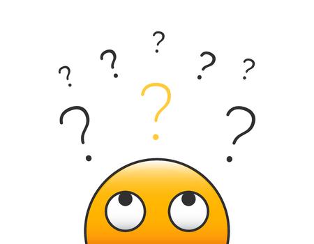 Emoticon Charakter Person Kopf schaut auf einen Stapel von Fragezeichen. Vektorillustrationsdesign mit transparentem Hintergrund für Neugier-, Zweifel-, Unsicherheits- und Problemlösungskonzepte. Vektorgrafik