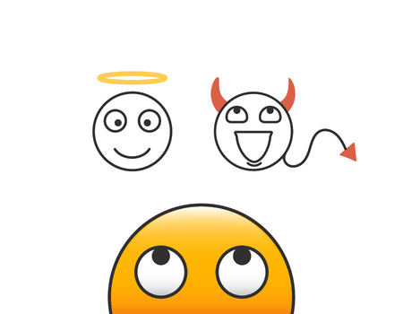 Good and evil concept. Emoticon character person looking at his conscience. Deciding between the good and the bad choice. Vector illustration with transparent background Çizim
