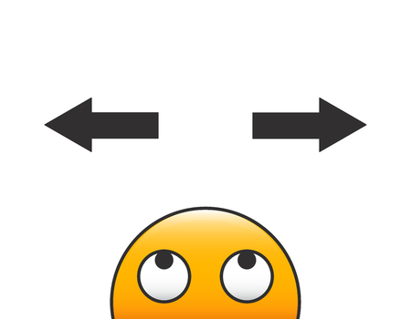 Emoticon character head making a decision with arrows and question above his head. Vector illustration with transparent background