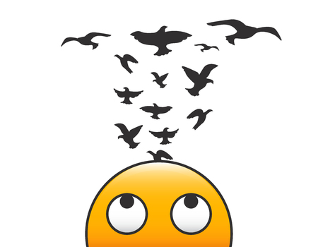 Emoticon character with birds flying from his head. Vector illustration concept with transparent background for creativity, freedom of mind and psychology or brain and thinking related subjects.