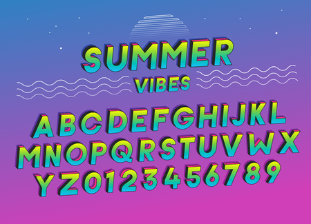 Summer Vibes font effect design with vivid colors. Vector art. Includes full alphabet and numbers