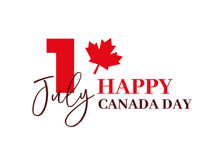 Happy Canada Day, first of july. Vector typographic design illustration. Canadian flag colors and maple leaf shape. Retro style with calligraphic text. Usable as greeting card, background, banner