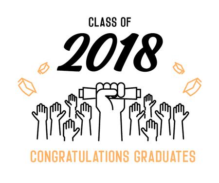 Clase de 2018 Enhorabuena graduados diseño de portada. Ilustración de vector de fiesta invita, pancartas, fondos