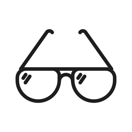 Icona di sottile linea di occhiali da sole semplici. Illustrazione minima di vettore. Oggetto estivo elegante e di moda