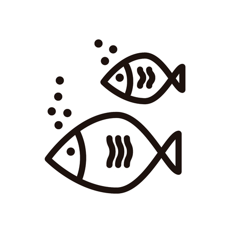 Icon of a fish couple. Vector thin line illustration for summer holidays near the sea, marine subjects, fishing, aquarium, healthy omega food.