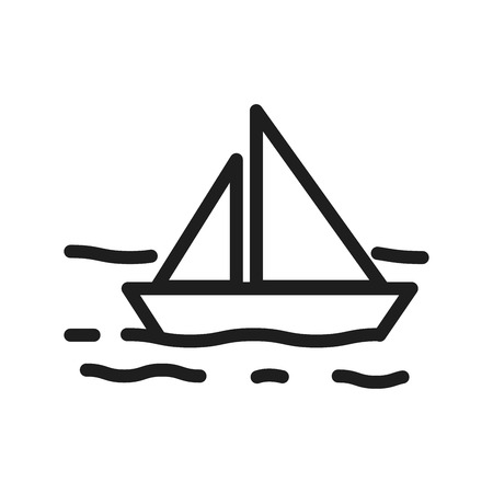 Vector sailboat in the sea with waves thin line icon. Marine and ocean related illustration