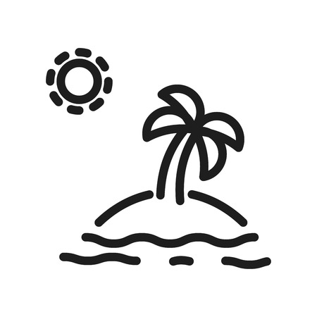 Island thin line icon with a palm tree in the middle. Minimal vector illustration for isle concepts. Summer, holidays, vacations, turism and traveling.