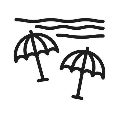 Beach thin line icon. Vector summer minimal geometric illustration with sun umbrellas and sea with waves