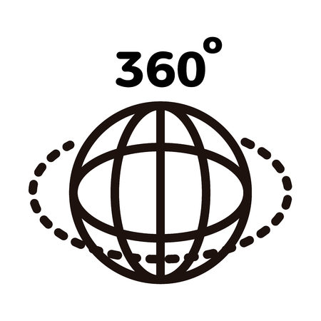 360 degree panorama view for photo and video icon. Vector thin line illustration with globe, dotted circle and 360