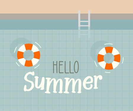 Hello summer text with a swimming pool background. Vector illustration design for seasonal holidays, vacations, resorts, summer related subjects, posters, flyers, party invitations