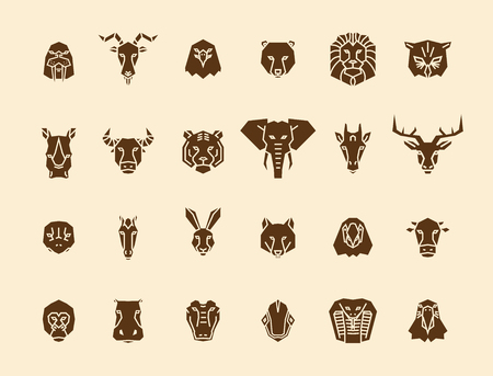 24 animal head icons. Unique vector geometric illustration collection representing some of the most famous wild life animals. Ilustracja