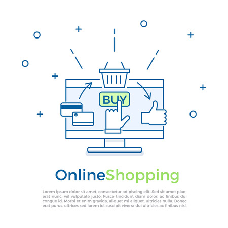 Ecommerce background banner. Online shopping process. Vector banner illustration for online marketing and sales. Hand clicking on buy button. Credit card buying basket of online goods