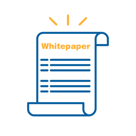 Whitepaper icon. Vector thin line illustration design. Ico investment, startup business company launch strategy. Paper sheet with text