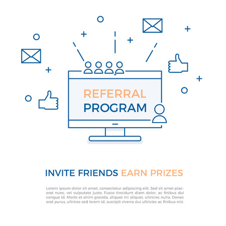 Referral program, affiliate marketing, online business concept. Invite friends, earn prizes. Vector illustration with computer screen, portraits, thumbs up and geometric shapes.