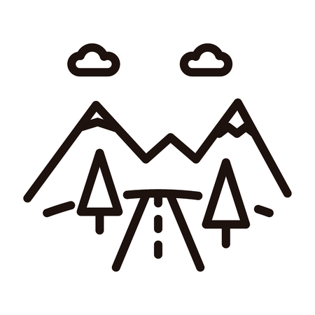 Mountain road icon. Vector thin line illustration with mountains, trees and road. Highway or car road going to the mountains. Concept for vacations, outdoor activities, holidays, summer, nature
