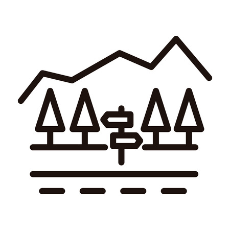 Country road with signpoast, trees and mountain minimal landscape. Vector thin line icon illustrationfor traveling, countryside, holidays, adventure