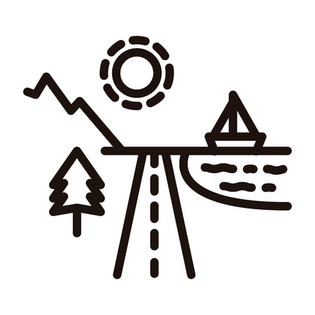 Beach and mountain holiday destinations divided by a road with the sun shinning, a tree, the ocean and a boat. Vector thin line icon illustration 向量圖像
