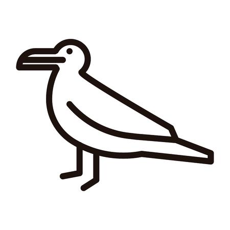 gaviota delgada línea icono inusual. ilustración vectorial de un pájaro del mar Ilustración de vector