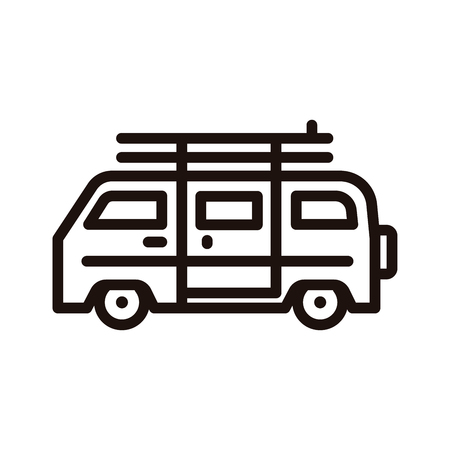Summer van vehicle with surf boards icon. Vector thin line icon for beach, surfing, hippie, outdoor adventures, vacation concepts