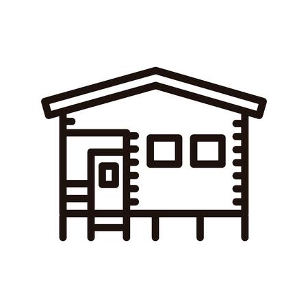 Bungalow camping house made of wood. Vector thin line icon illustration Vektoros illusztráció