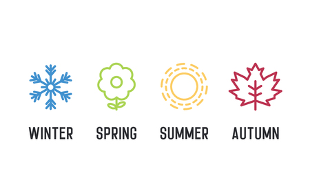 Four seasons icon set. 4 Vector graphic element illustrations representing winter, spring, summer, autumn. Snowflake, flower, sun and maple leaf 向量圖像