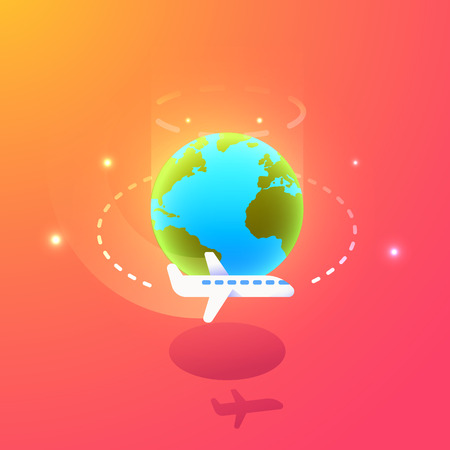 Airplane flying around the globe illustration. Vector banner background template for tourism, traveling, vacation, business trip, global business. Easily resizable to add your text
