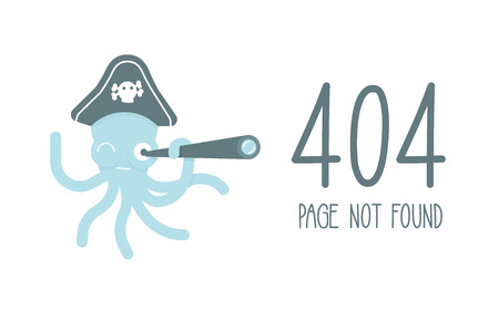 Funny concept for 404 error, page not found. Vector flat illustration of a pirate octopus with a telescope