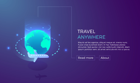Travel anywhere, vacation and tourism concept for holidays around the world. Vector illustration for banners, backgrounds etc. Easy to edit with your own text and easily resizable. Vivid modern and bright colors. Happy summer holidays 向量圖像