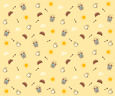 Cute morning seamless pattern background. Vector wallpaper illustration with clouds, the sun, breakfast elements like mug and croissant, spoon, alarm clock happy character smiling. 向量圖像