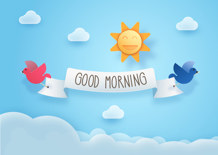Good morning cheerful illustration with 3d paper art style effect. With clouds, sky, birds and smiling sun