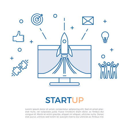 Successful startup launch concept. Start up business technology with business related icons. Vector illustration background design