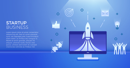 Startup business banner. Vector illustration for business related subjects. Rocket launch on computer with different business icons like team cheering, lightbulb idea, emails, aim, thumbs up, puzzle pieces 向量圖像