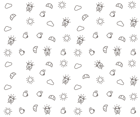 Cute morning seamless pattern background. Vector wallpaper illustration with clouds, the sun, breakfast elements like mug and croissant, alarm clock happy character smiling.