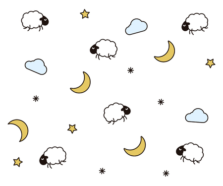 Cute night seamless pattern background for kids bedtime sleeping. Vector wallpaper illustration with clouds, moons, stars, sheeps or lambs 向量圖像