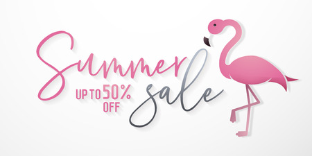 Summer sale background with flamingo in paper art style and calligraphic text for commerce, e-commerce, online shopping, banners, posters, vouchers, flyers etc.