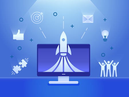 Rocket launch on a computer screen with business icons banner. Vector illustration concept for startups, teamwork, business, social media, creative strategies, advertisement 向量圖像